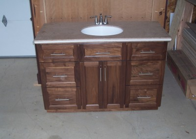 Dark Vanity with Stone Counter and Undermount Sink 1