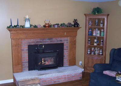 Custom Fireplace Mantel and Trim with Corner Curio